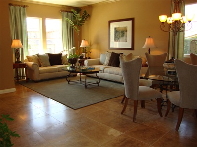tile floor in family room